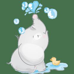 فیلی در حال آب بازی